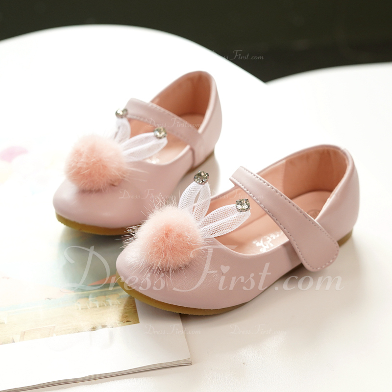 Fille de Mary Jane Cuir en microfibre Chaussures de fille de fleur avec Velcro pom pom