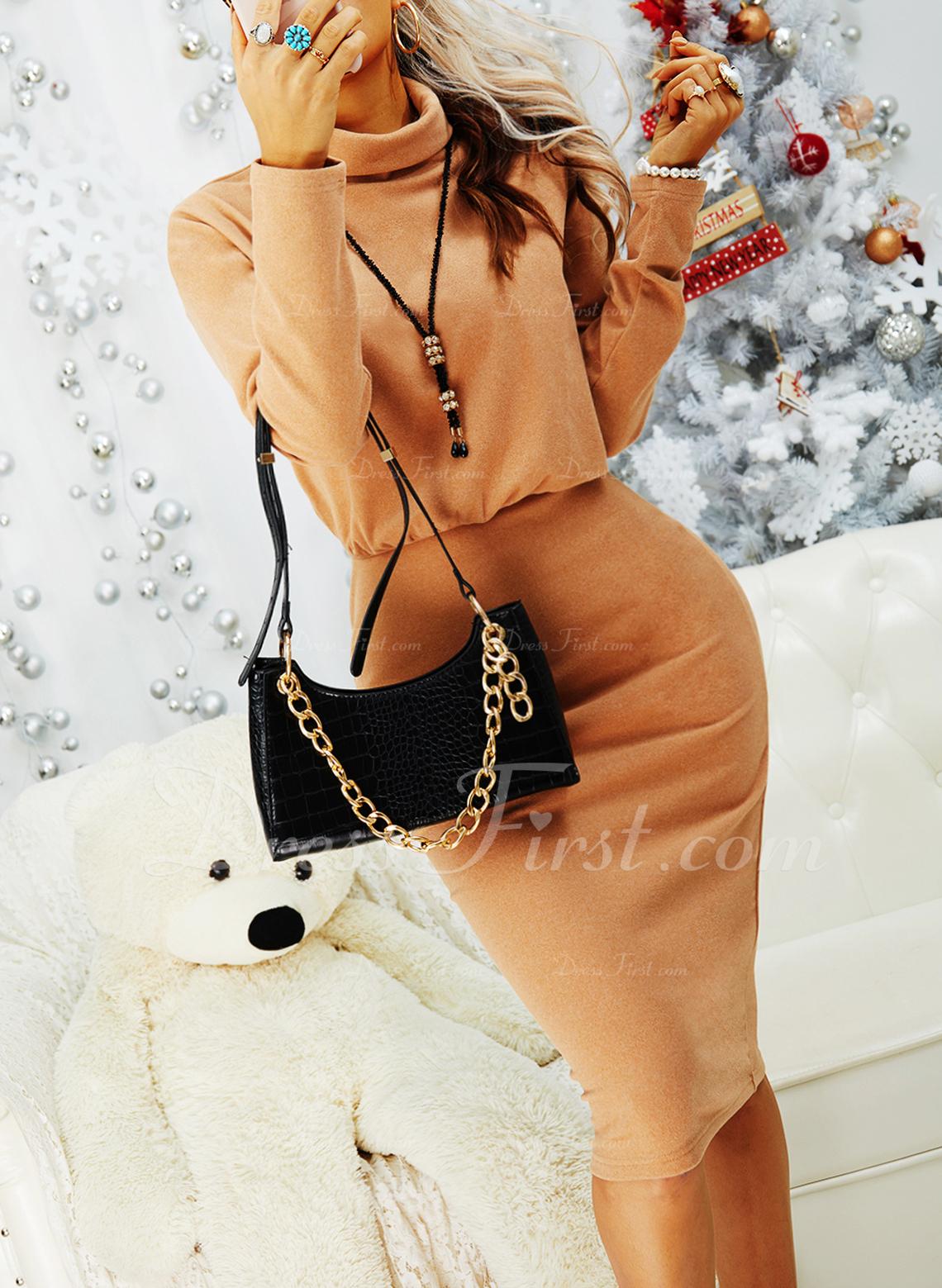 Solid Conică Mâneci Lungi Midi Negre gündelik Kalem Moda Elbiseler