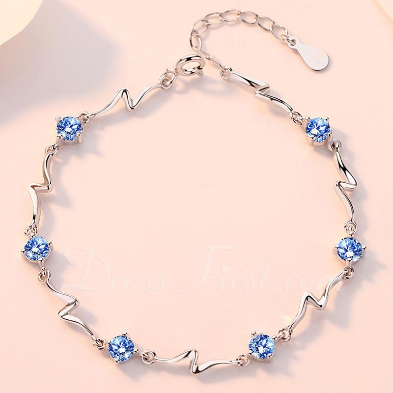 Señoras' Exquisito 925 plata de ley con Diamante Cubic zirconia Pulseras Ella/Amigos
