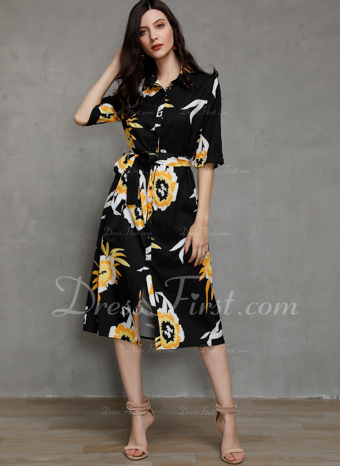 Blumen Druck A-Linien-Kleid 1/2 Ärmel Lange Ärmel Maxi Midi Lässige Kleidung Hemdkleider Modekleider