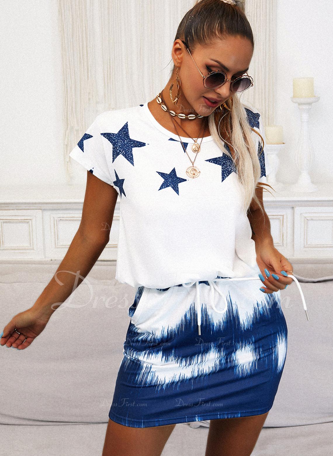 Tie Dye Impresión Cubierta Manga Corta Mini Casual camiseta Vestidos de moda
