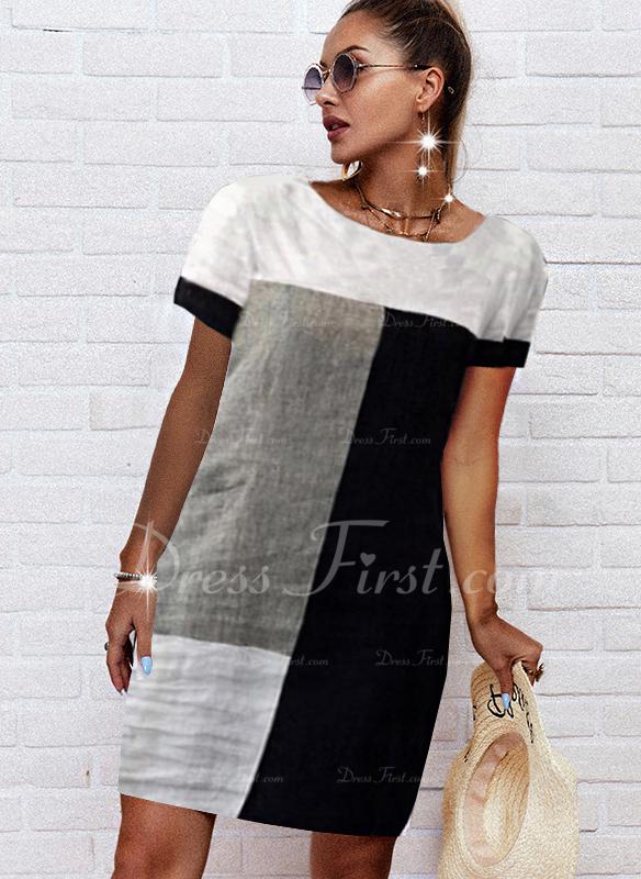 Farbblock Etuikleider Kurze Ärmel Midi Lässige Kleidung Tunika Modekleider