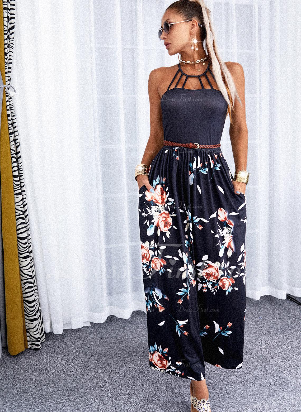 Floral Impresión Escotado por detrás Vestido línea A Sin mangas Maxi Casual Vacaciones Patinador Vestidos de moda