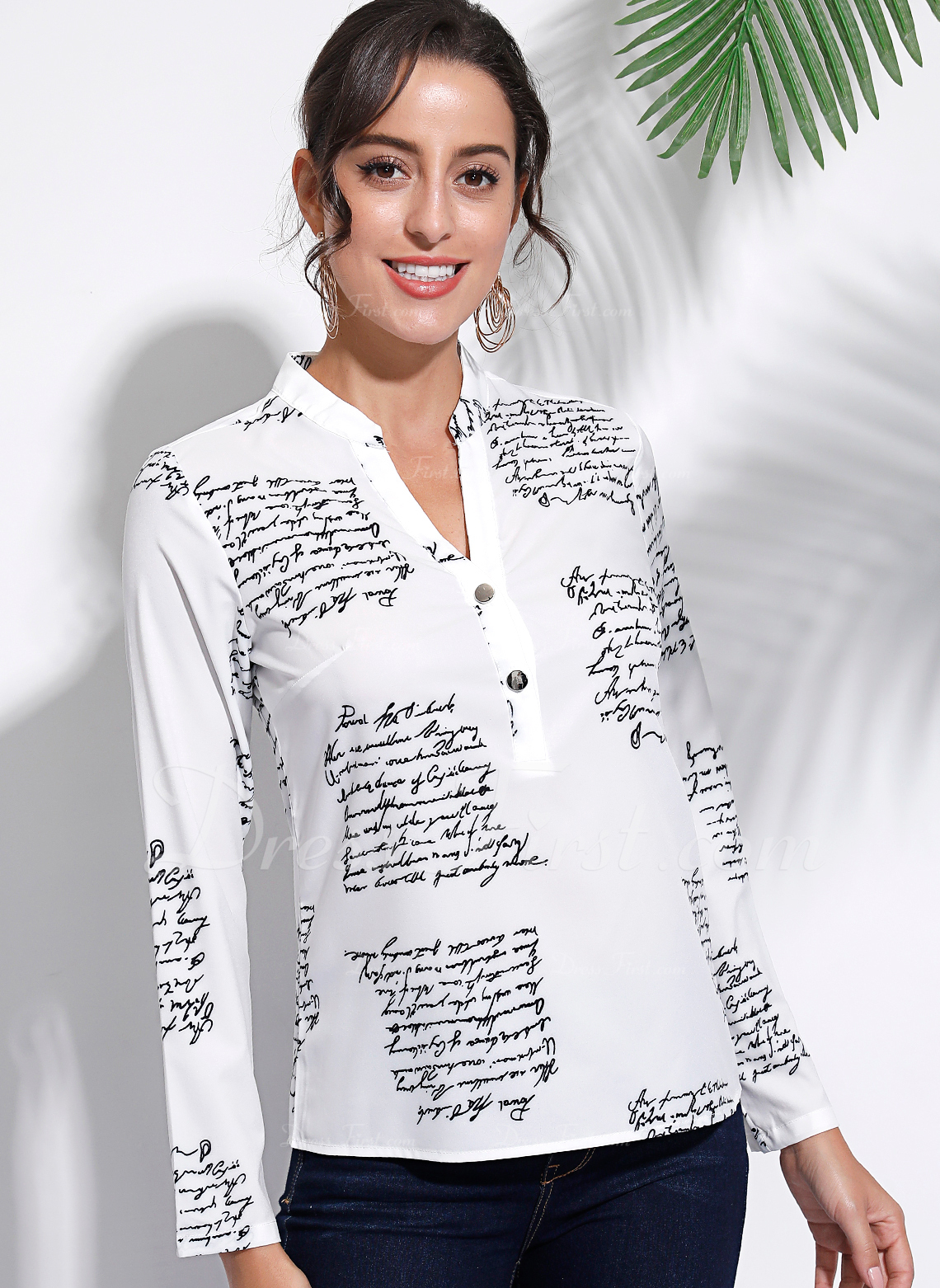 Impresión Manga larga Algodón mezcla de algodón Escote en V Camisas Blusas Blusas