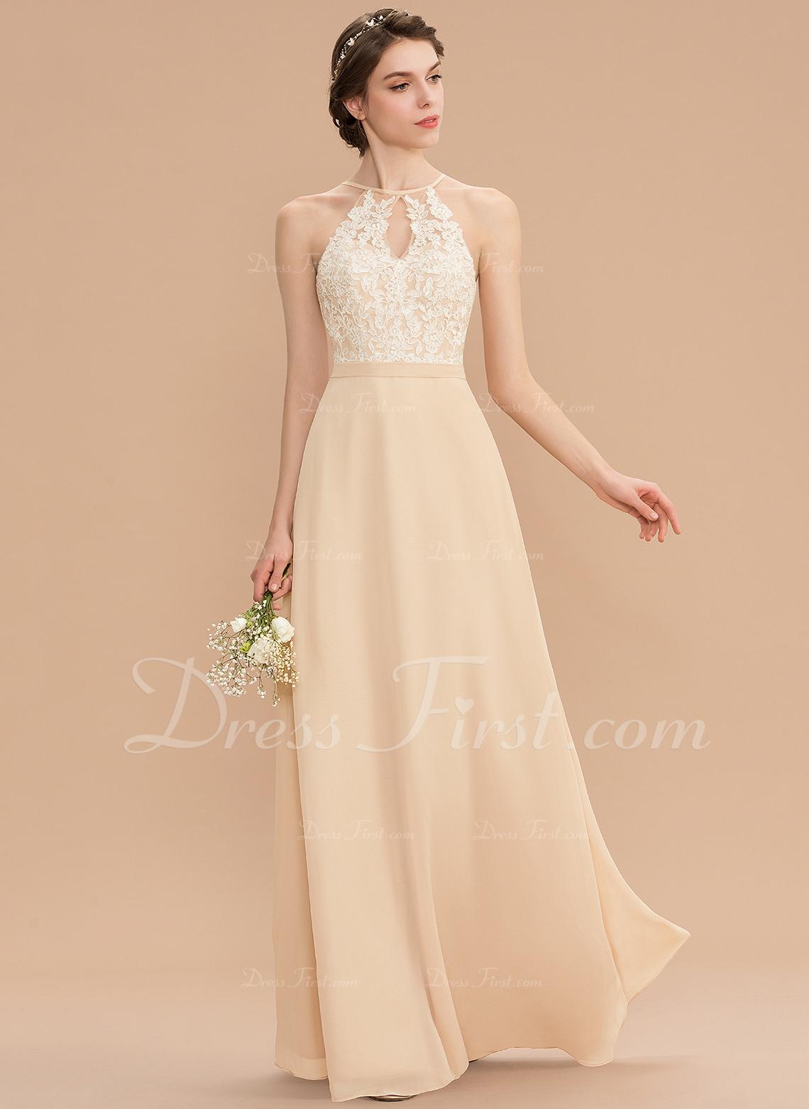d9d37bc5adc A-Line Scoop Neck Floor-Length Chiffon Lace Bridesmaid Dress With Bow(s)   176761