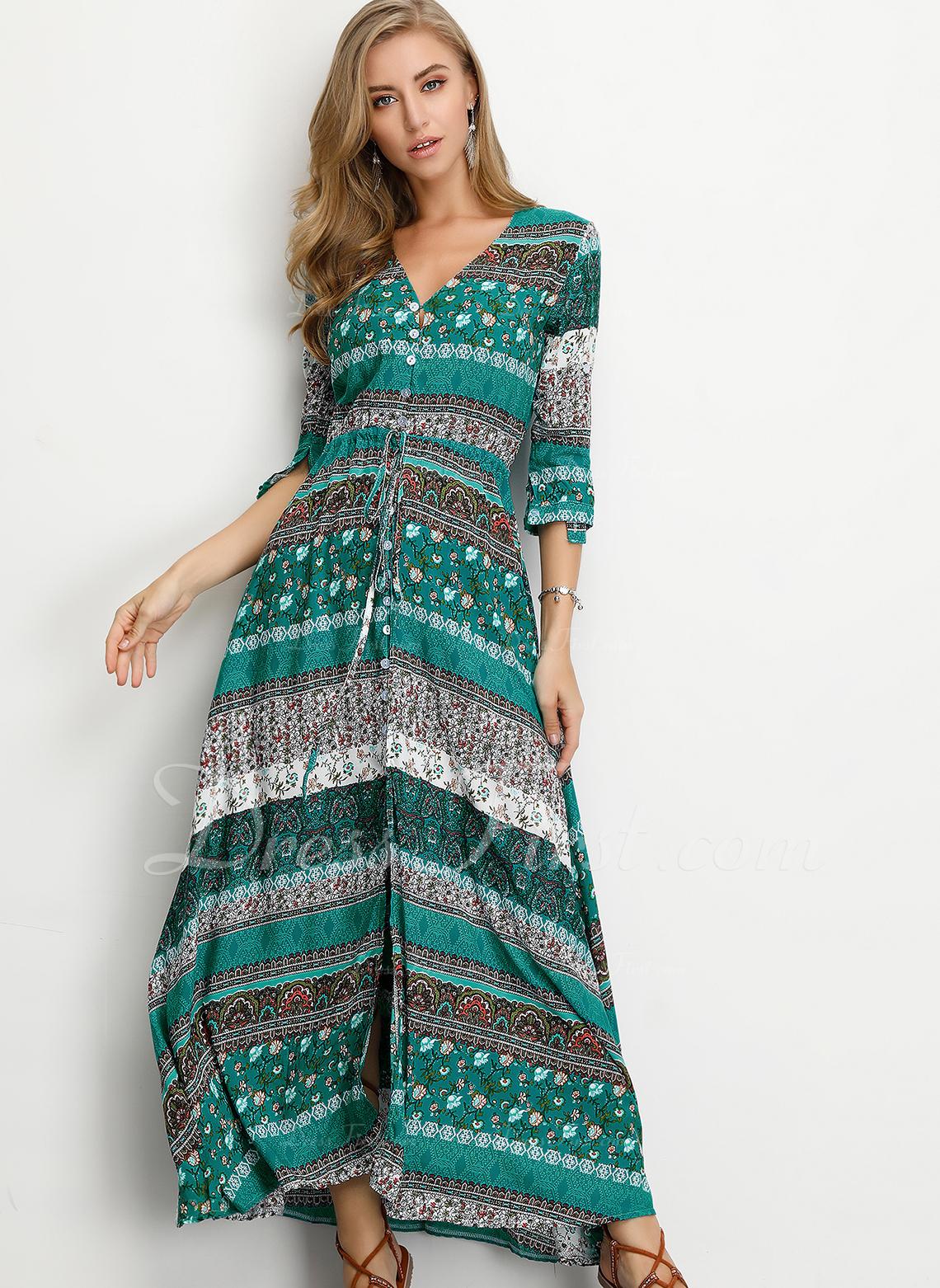 Algodón con Botones/Impresión Maxi Vestido