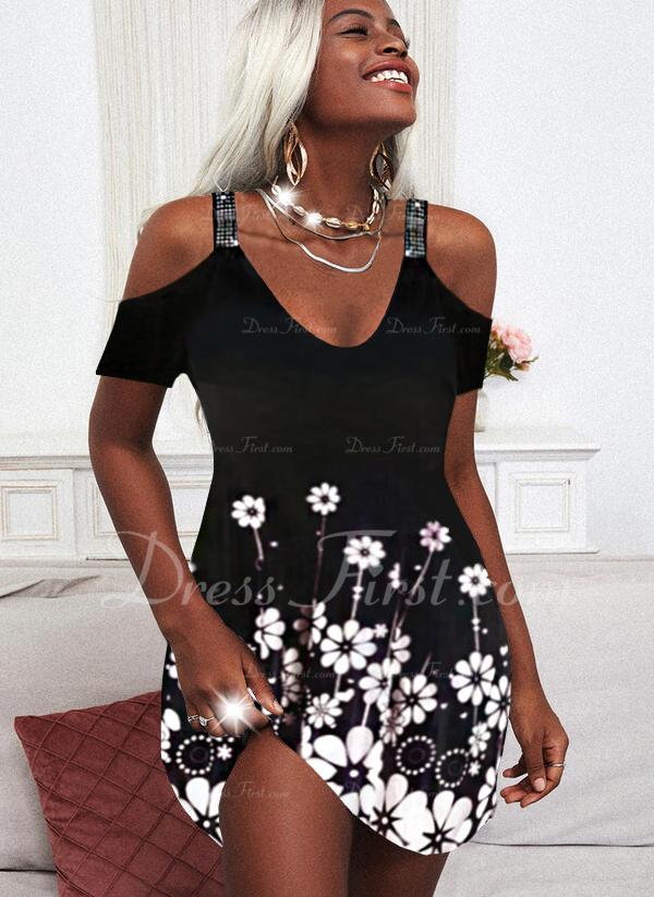 Floral Impresión Vestidos sueltos Manga Corta Midi Casual Vacaciones Túnica Vestidos de moda