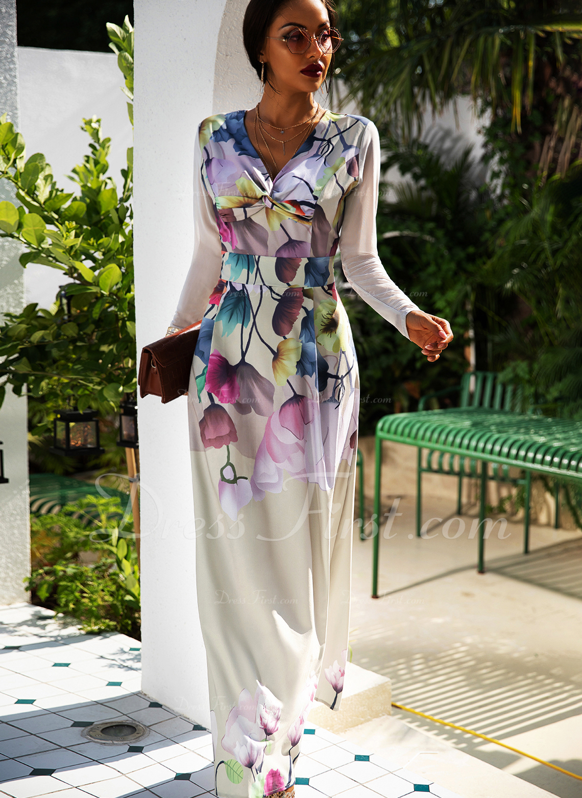 Floral Print A-line Long Sleeves Maxi Party Elegant Skater Dresses