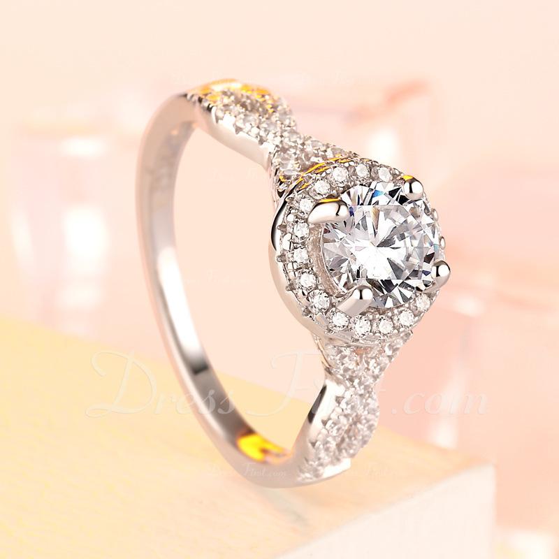 Sterling zilver Zirconia Halo Ronde Snede Verlovings ringen Belofte ringen