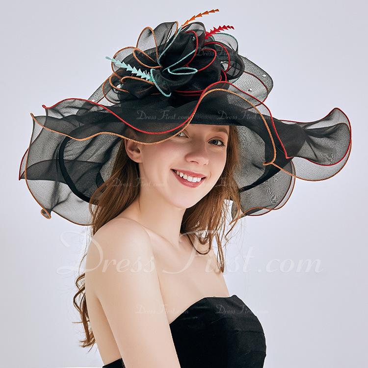 Señoras' Glamorosa/Llamativo/Encanto Organdí con Flor Sombreros Playa / Sol/Derby Kentucky Sombreros/Sombreros Tea Party