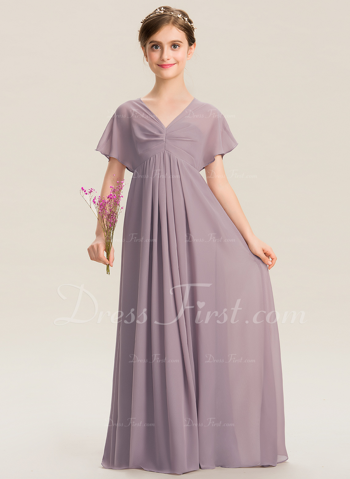 c4d8869a5ebae A-Line V-neck Floor-Length Chiffon Junior Bridesmaid Dress With Ruffle   173299