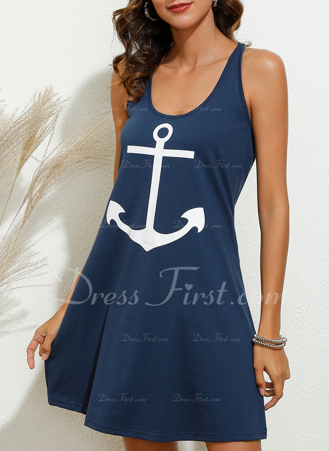 Print Sheath Sleeveless Mini Casual Sexy Vacation Tank Dresses