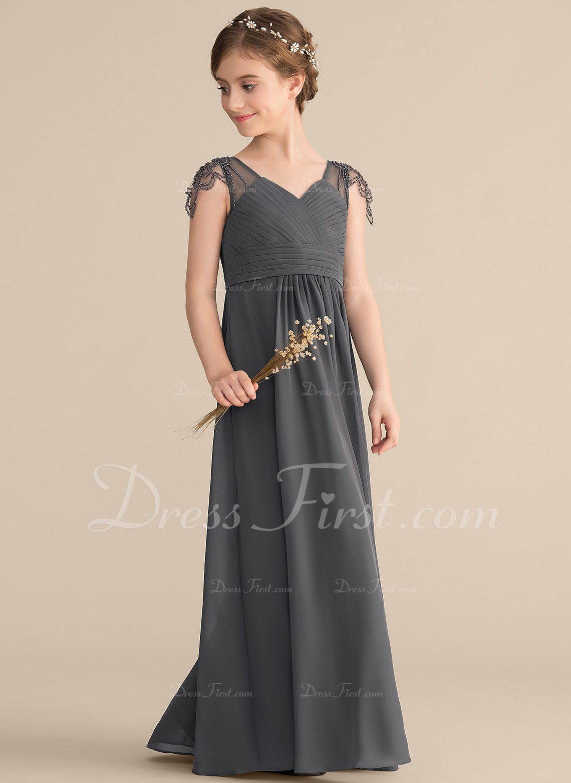 A-Line/Princess V-neck Floor-Length Chiffon Junior Bridesmaid Dress With Ruffle Beading