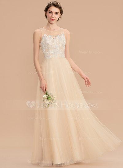 b52044bc7 Corte A Decote redondo Longos Tule Renda Vestido de madrinha ...
