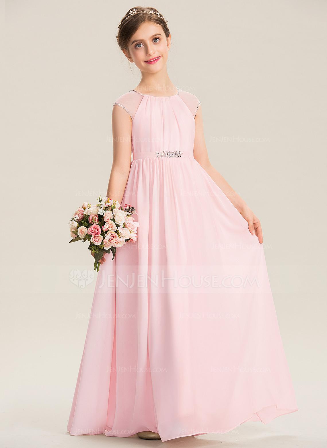 7133c05547 A-Line Scoop Neck Floor-Length Chiffon Junior Bridesmaid Dress With Beading  Sequins  173303