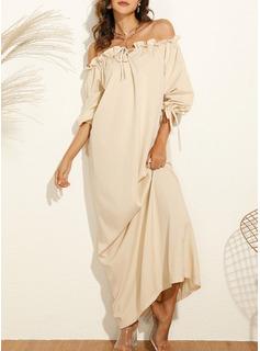Solid Shiftklänningar Långa ärmar Maxi Fritids Semester Modeklänningar