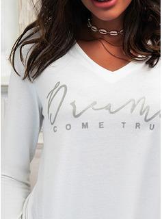 Figura Impresión Cuello en V Manga Larga Casual camiseta