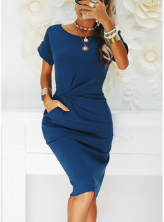 Solid Bodycon Short Sleeves Midi Little Black Casual Dresses