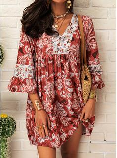Print Skiftekjoler 3/4 ærmer Flare-ærmer Mini Casual Tunika Mode kjoler