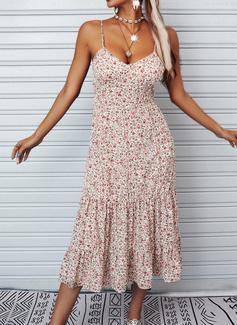 Floral Impresión Vestido línea A Sin mangas Midi Casual Vacaciones Tipo Vestidos de moda