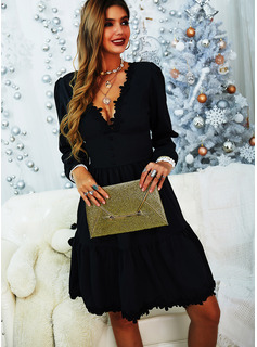 Lace Solid A-line Long Sleeves Mini Little Black Elegant Skater Dresses
