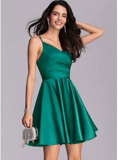 A-Line V-neck Short/Mini Satin Cocktail Dress With Ruffle Pockets