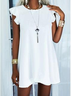 固体 シフトドレス 半袖 ミディ カジュアル ファッションドレス