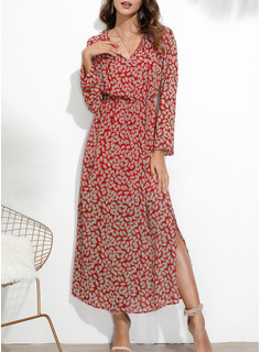 Print Sheath Long Sleeves Maxi Casual Dresses