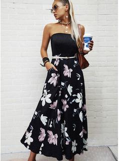 Floral Impresión Vestido línea A Sin mangas Maxi Vacaciones Patinador Vestidos de moda