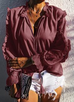 Spitze Einfarbig V-Ausschnitt Lange Ärmel Lässige Kleidung Elegant