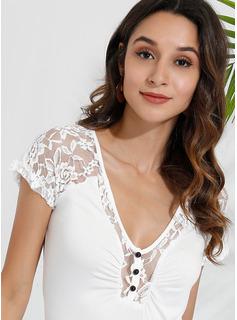 Lace Einfarbig Kurze Ärmel Polyester V-Ausschnitt T-shirt Blusen
