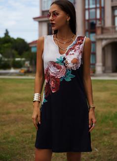 Blumen Druck Etui Ärmellos Mini Lässige Kleidung Urlaub Trägerhemd Modekleider