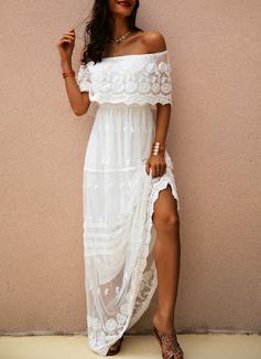 Spets Solid A-linjeklänning 1/2 ärmar Maxi Elegant Modeklänningar