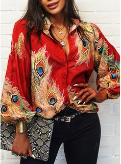 Print V-hals 3/4 ærmer Button-up Casual Shirt Skjorter