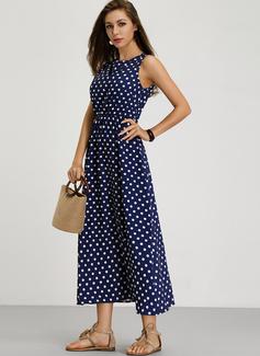PolkaDot A-linjeklänning Ärmlös Maxi Fritids skater Modeklänningar