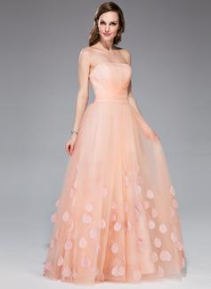 Forme Princesse Sans bretelle Longueur ras du sol Tulle Robe de vacances avec Plissé Fleur(s)