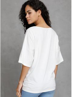 Stampa Scollatura a V 1/2 maniche Casuale Reggiseno Tshirt