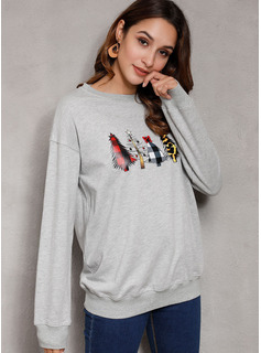 Print Long Sleeves Polyester Round Neck Knit Blouses