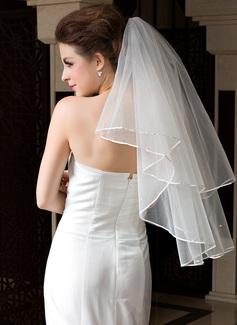 1 couche Voiles de mariée valse avec Bord en ruban