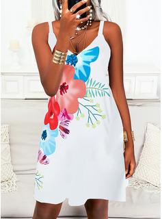 Floral Impresión Vestidos sueltos Sin mangas Midi Casual Tipo Vestidos de moda