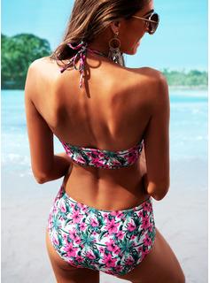 Bikinis Chinlon Wysoki stan Dla kobiet tak Stroje kąpielowe