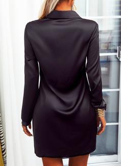 Sólido Bainha Manga Comprida Mini Vestido Preto Elegante Vestidos-camisas Vestidos na Moda