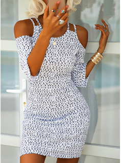 Print Sheath 3/4 Sleeves Cold Shoulder Sleeve Mini Casual Dresses