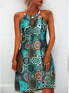 Blommig Print Shiftklänningar Ärmlös Mini Boho Fritids Modeklänningar
