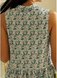 Blommig Print Shiftklänningar Ärmlös Mini Fritids Semester Tank Modeklänningar