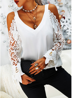 Lace Solid Cold Shoulder Long Sleeves Casual Blouses