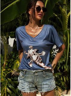 Animal Print Short Sleeves Cotton Blends V Neck T-shirt Blouses