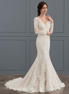 Trumpet/Mermaid V-neck Court Train Tulle Wedding Dress With Beading