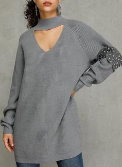 Solido Aderente Maniche lunghe Mini Casuale Maglioni Vestiti di moda
