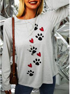 Animal Print Round Neck Long Sleeves